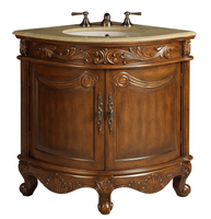 "24 inch Bathroom Vanity Corner Traditional Classic Style Medium Brown (24x24x34""H) CQ030CM"