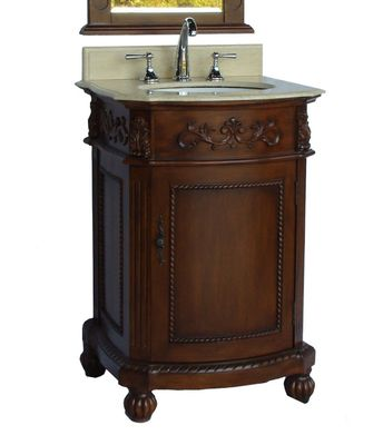 """24 inch Bathroom Vanity Traditional Classic Style Brown Color Cream Marble Top (24""""Wx22""""Dx36""""H) CBWV048M"""