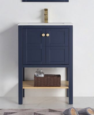 """24 inch Small Narrow Bathroom Vanity Navy Blue with Storage (23.5""""Wx18.15""""Dx35""""H) CCL208NB24"""