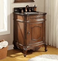 """24 inch Bathroom Vanity Traditional Classic Style Medium Brown Color (24""""Wx22""""Dx34""""H) CBWV047GT"""