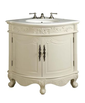 "24 inch bathroom Vanity For Corner Traditional Antique White Color (24""Wx24""Wx34""H) CBC030C"