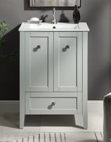 """25 inch Bathroom Vanity Small Modern Style Gray Color (24.2""""Wx18.6""""Dx34.9""""H) CWFS85029CK"""