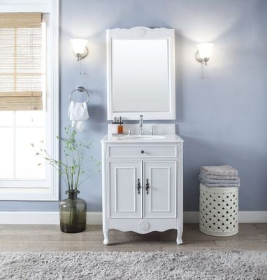 """26 inch Bathroom Vanity Cottage Beach House Vintage Antique White Color (26""""Wx21""""Dx35""""H) CHF838AW"""