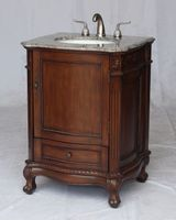 """26 inch Bathroom Vanity Traditional Style Medium Brown Walnut Color (26""""Wx22""""Dx36""""H) S2192GY"""