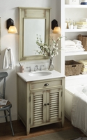 "26 inch Bathroom Vanity Vintage Casual Style Distressed Beige Color (26""Wx21.75""Dx34""H) CCF28323"