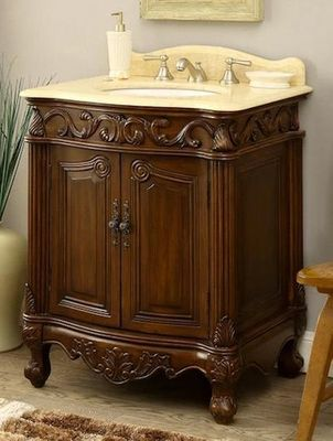 """27 inch Bathroom Vanity Traditional Style Medium Brown Color (27""""Wx21""""Dx33.5""""H) CBC2917MTK27"""