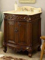 "27 inch Bathroom Vanity Traditional Style Medium Brown Color (27""Wx21""Dx33.5""H) CBC2917MTK27"