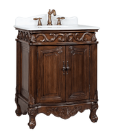 """27 inch Bathroom Vanity Traditional Style Medium Brown Color (27""""Wx21""""Dx33.5""""H) CBC2917WTK27"""