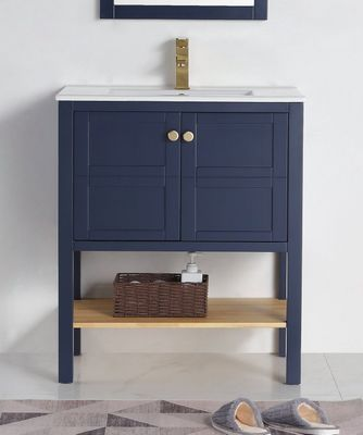 """30 inch Small Narrow Bathroom Vanity Navy Blue with Storage (29.5""""Wx18.15""""Dx35""""H) CCL208NB30"""