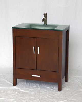 """30 inch Bathroom Vanity Glass Top Modern Style Walnut Color (30""""Wx20""""Dx34""""H) S2420"""
