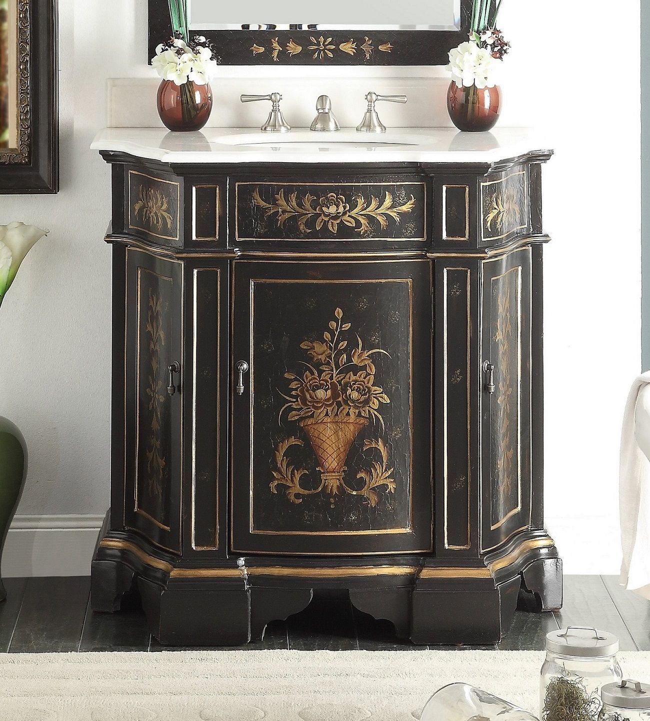 35 Inch Bathroom Vanity Tuscan Style Hand Painted Vintage Ebony Finish 35 Wx21 5 Dx36 H Chf090bk