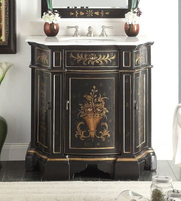 "35 inch Bathroom Vanity Tuscan Style Hand Painted Vintage Ebony Finish (35""Wx21.5""Dx36""H) CHF090BK"