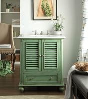 """30 inch Bathroom Vanity Louvered Shutter Doors Style Vintage Green Color (30""""Wx22""""Dx36""""H) CHF087G"""