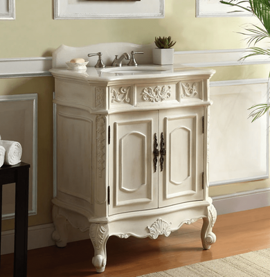 """31 inch Bathroom Vanity Traditional Style Antique white Color (30.75""""Wx20.5""""Dx36.5""""H) CHF080WAW"""