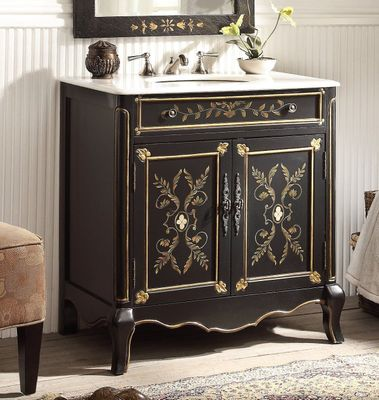 """32.5 inch Bathroom Vanity Floral Hand Painted Black Gold (32.5""""Wx20.25""""Dx34.5""""H) CHF2326"""