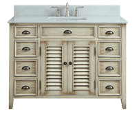 "46.5 inch Bathroom Vanity Cottage Beach Style Distressed Beige Color (46.5""Wx21.5""Dx34""H) CCF28325"