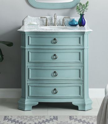 """32 inch Bathroom Vanity 3 Drawers Cottage Style Light Blue Color (32""""Wx21""""Dx36.5""""H) CGD2033BU"""