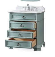 """32 inch Bathroom Vanity 3 Drawers Coastal Cottage Beach Style Light Blue Color (32""""Wx21""""Dx36.5""""H) CGD2033BUC"""