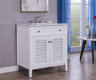 "32 inch Bathroom Vanity Pure White Coastal Cottage Beach Style (32""Wx21""Dx35""H) S332832W"