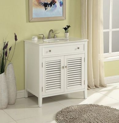 "32 inch Bathroom Vanity Cottage Coastal Beach Style White Color (32""Wx21""Dx35""H) S112832W"