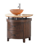 "32 inch Bathroom Vanity Vessel Sink Top Style Dark Brown Color Honey Onyx Top (32""Wx22""Dx31""H) CBWV026"