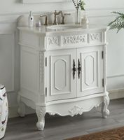 "33.5 inch Bathroom Vanity Classic Traditional Antique White Finish (33.5x20.75x36.75""H) CHF021WAW"