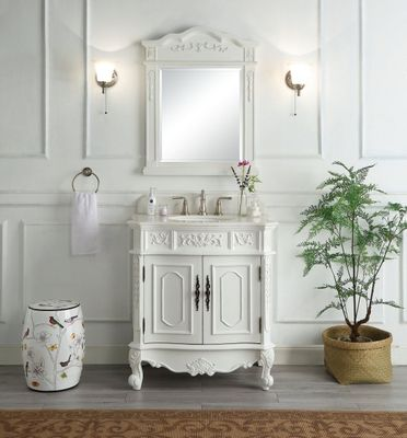 """33.5 inch Bathroom Vanity Classic Traditional Antique White Finish (33.5x20.75x36.75""""H) CHF021WAW"""