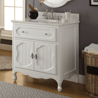 "34 inch Bathroom Vanity Coastal Cottage Beach House Vintage Style White Color (34""Wx21""Dx35""H) CGD1533WT"