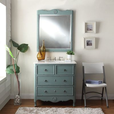 """34 inch Bathroom Vanity Cottage Beach Style Vintage Blue Color (34""""Wx21""""Dx35""""H) CHF081YC"""