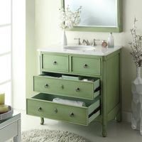 """34 inch Bathroom Vanity Cottage Beach Style Vintage Green Color (34""""Wx21""""Dx35""""H) CHF081GC"""
