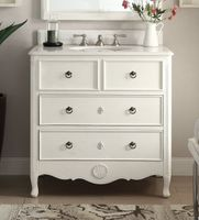 """34 inch Bathroom Vanity Cottage Beach Style Vintage White Color (34""""Wx21""""Dx35""""H) CHF081AWC"""