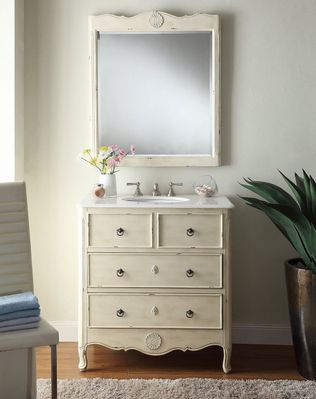 """34 inch Bathroom Vanity Cottage Beach Style Vintage Cream Color (34""""Wx21""""Dx35""""H) CHF081WPC"""