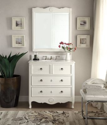 """34 inch Bathroom Vanity Coastal Vintage Style Distressed White Color (34""""Wx21""""Dx35""""H) CHF081AW"""
