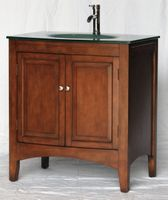 "32 inch Bathroom Vanity Glass Top Style Walnut Color (32""Wx23""Dx35""H) S2237S"