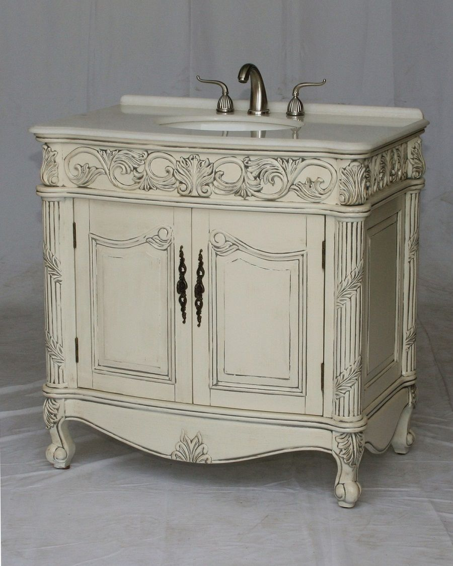 36 inch Bathroom Vanity Antique White Color Imperial White ...