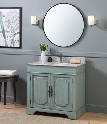 """36 inch Bathroom Vanity Cottage Beach Style Distressed Silver Blue Color (36""""Wx22""""Dx35""""H) CRX2218C"""