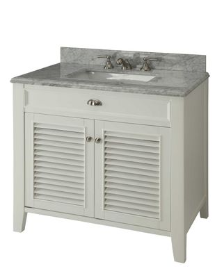 """36 inch Bathroom Vanity Louvered Shutter Doors Style White Color (36""""Wx22""""Dx35""""H) CYR3028Q36"""