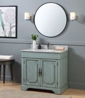 """36 inch Cottage Bohemian Distressed Silver Blue Color Bathroom Vanity (36""""Wx22""""Dx35""""H) CRX2218"""