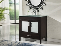 "36"" inch Espresso Bathroom Vanity with Tempered Glass Top"