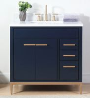 "36 inch Navy Blue Bathroom Vanity Modern Style Quartz Top (36""Wx22""Dx35""H) CTB9888NBV36"