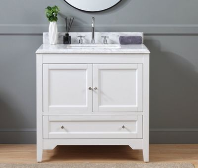 "36 inch White Shaker Bathroom Vanity with Carrara Marble Top (36""Wx22""Dx36""H) CHF1083"