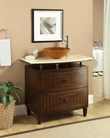 "36 inch Bathroom Vanity Glass Vessel Sink Top Style Dark Brown Color (36""Wx20.5""Dx33""H) CQ1361"