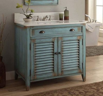 "36 inch Bathroom Vanity Louvered Shutter Doors Style Distressed Blue (36""Wx21.5""Dx34""H) CCF28884BU"