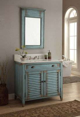 """36 inch Bathroom Vanity Louvered Shutter Doors Style Distressed Blue (36""""Wx21.5""""Dx34""""H) CCF28884BU"""