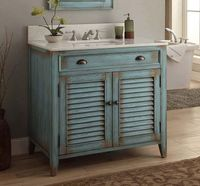"36 inch Bathroom Vanity Coastal Cottage Beach Style Distressed Blue Color (36""Wx21.5""Dx34""H) CCF28884BUC"