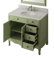 "38 inch Bathroom Vanity with 3 Drawers Cottage Style Distressed Vintage Green Color (38""Wx21""Dx35""H) CHF837G"