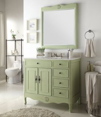 """38 inch Bathroom Vanity with 3 Drawers Cottage Style Distressed Vintage Green Color (38""""Wx21""""Dx35""""H) CHF837G"""