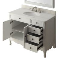 """38 inch Bathroom Vanity Cottage Style Distressed Antique White Color with 3 drawers (38""""Wx21""""Dx35""""H) CHF837AW"""