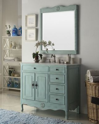 """38 inch Bathroom Vanity with 3 Drawers Cottage Style Distressed Vintage Light Blue Color (38""""Wx21""""Dx35""""H) CHF837LB"""