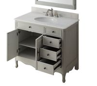 """38 inch Bathroom Vanity Distressed Vintage Gray Color with 3 Drawers (38""""Wx21""""Dx35""""H) CHF837CK"""